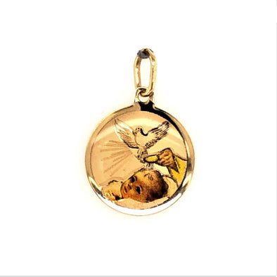 Round Enamel Painted Baptism Medal - 14kt Yellow Gold