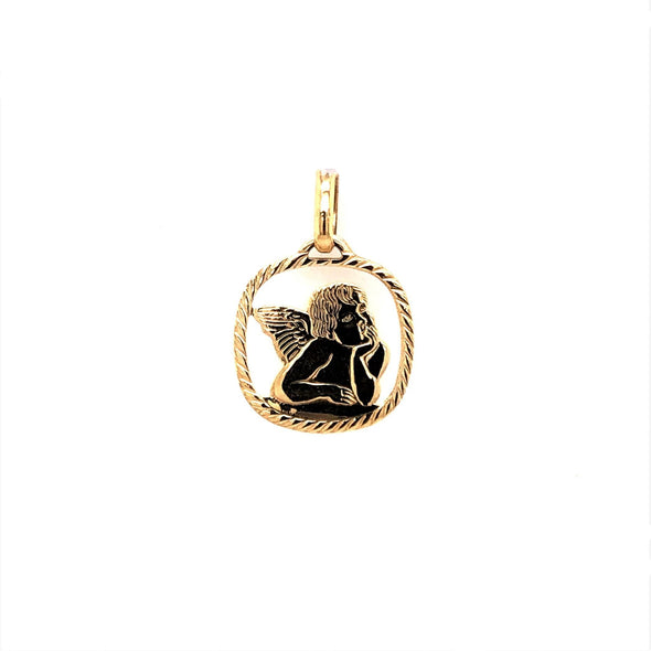 Open Design Angel Medal - 14kt Yellow Gold