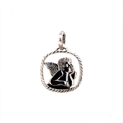 Angel Medal with Open Detail - 14kt White Gold