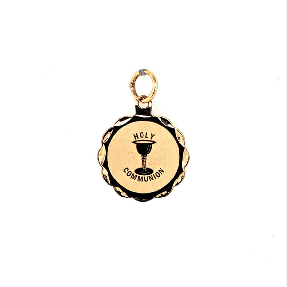 Round Holy Communion Medal - 14kt Yellow Gold
