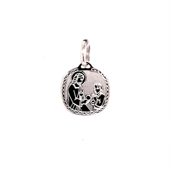Communion Medal with Etched Edge Detail - 14kt White Gold