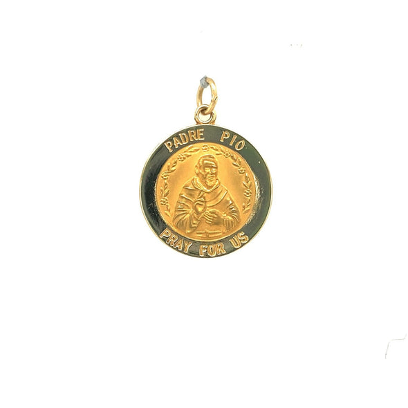 Round Padre Pio Medal - 14kt Yellow Gold