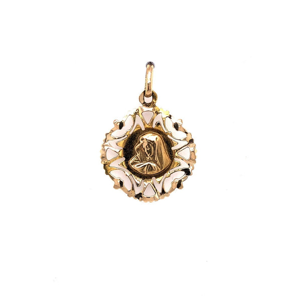 Madonna Medal with Filagree Detail - 14kt Yellow Gold
