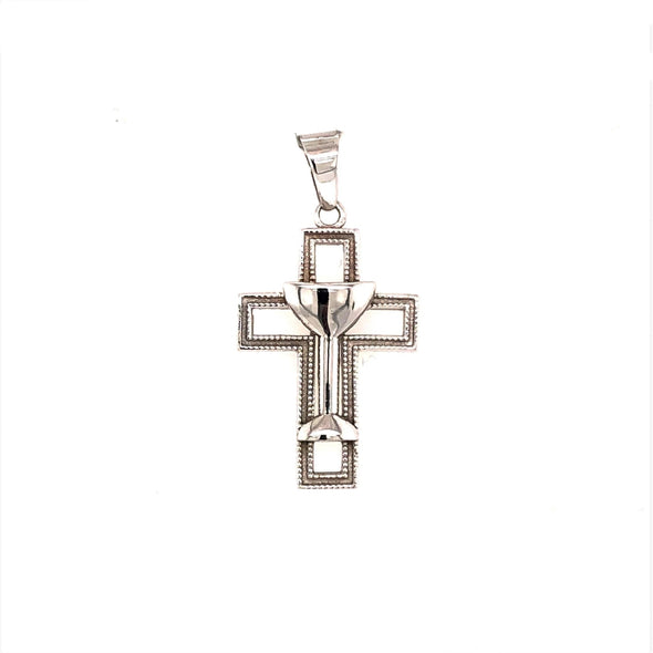 Cross with Chalice Detail - 14kt White Gold