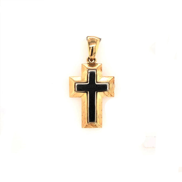 Raised Block Style Cross - Two-Tone Gold