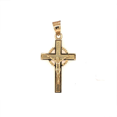 Engraved Detail Fancy Crucifix - 14kt Yellow Gold