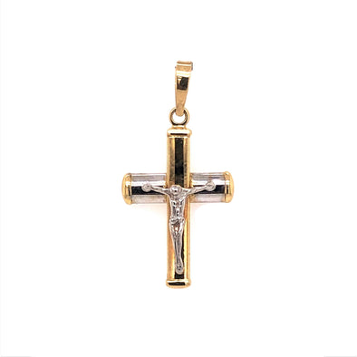 Raised Design Crucifix - 14kt Two-Tone Gold