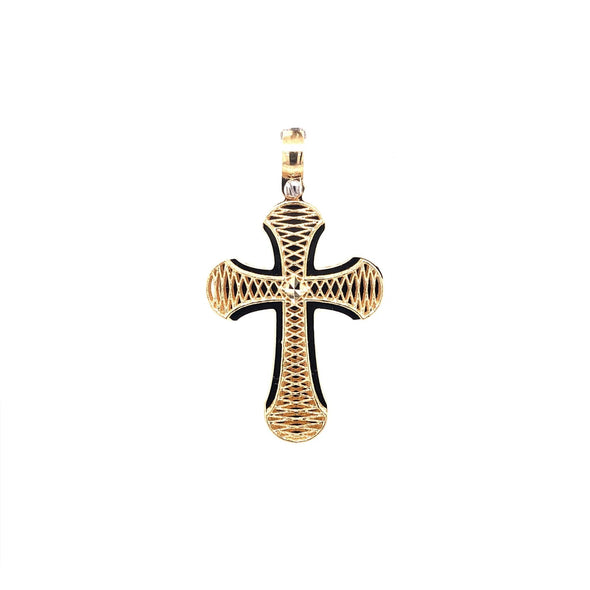 Raised Etched Detail Cross with Flared Edges - 14kt Yellow Gold