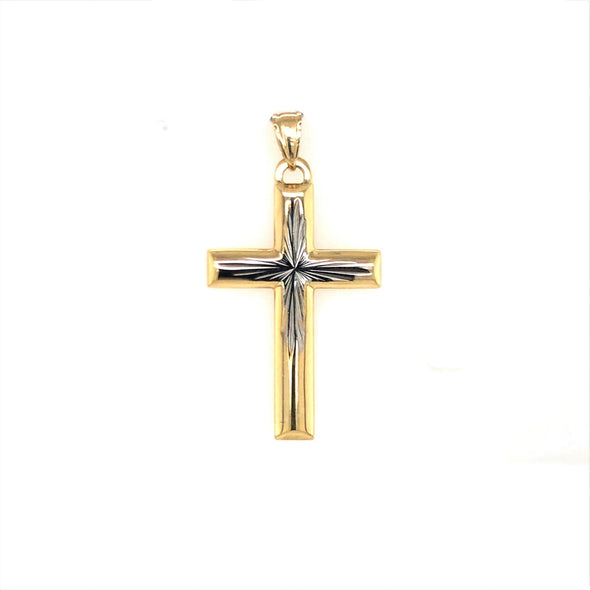 Cross with Interior Diamond Cut Design - 14kt Two-Tone Gold