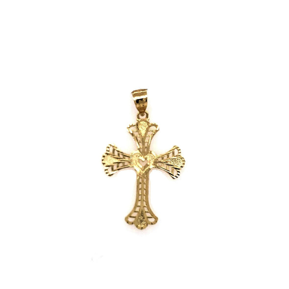 Filagree Detail Cross- 14kt Yellow Gold