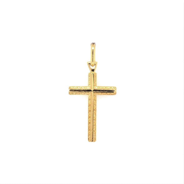 Raised Edge Cross - 14kt Yellow Gold