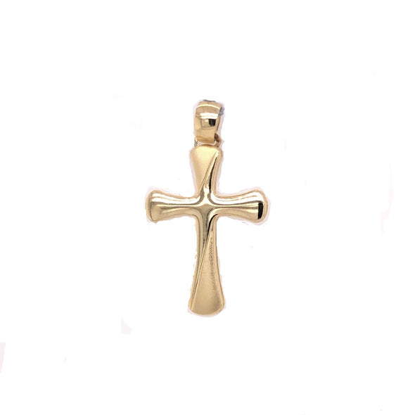 Smooth Cross with Rounded Edges - 14kt Yellow Gold