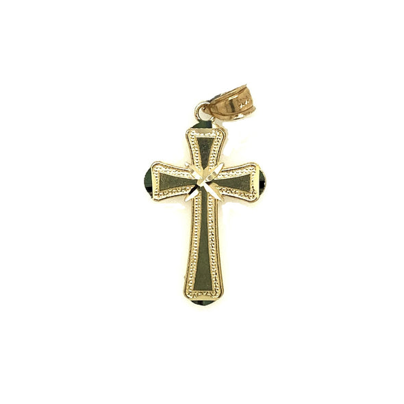 Beaded Edge and Center X Design Cross - 14kt Yellow Gold