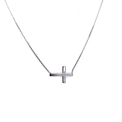 Sideways Cross Pendant - Sterling Silver