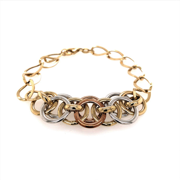 Tri-Color Round Gold Link Bracelet
