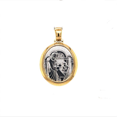 Oval Communion Medal - 14kt Two-Tone Gold