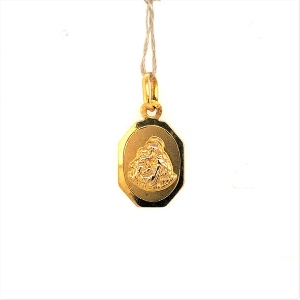 Octagon Shaped St. Francis Medal - 14kt Yellow Gold