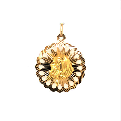 Round Madonna Medal with Filigree Detail - 18kt Yellow Gold