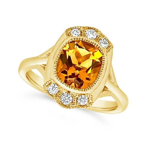 Satin Finish Vintage Style Citrine and Diamond Accented Ring