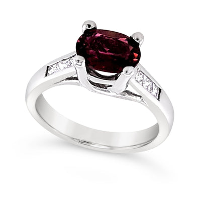 Pink Tourmaline and Princess Cut Diamond Ring