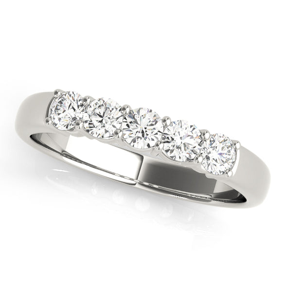 Five Round Diamond Wedding Band