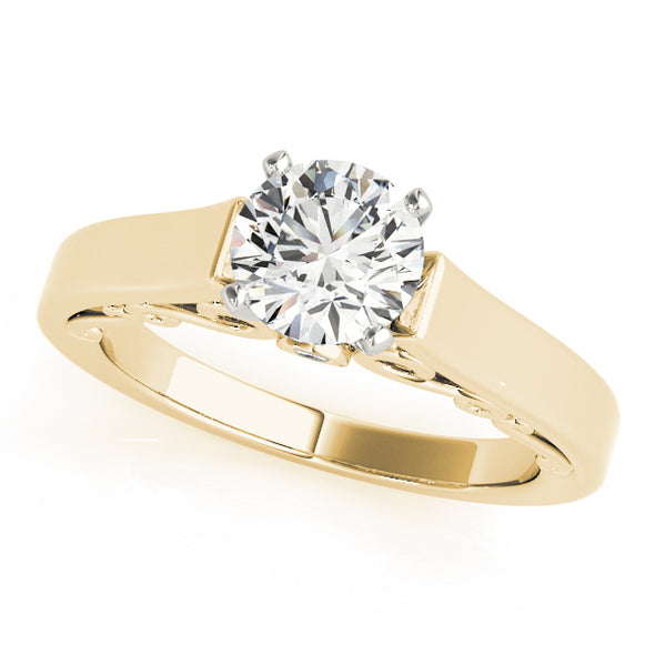 Wide Gold Engagement Mounting with Diamond Detail