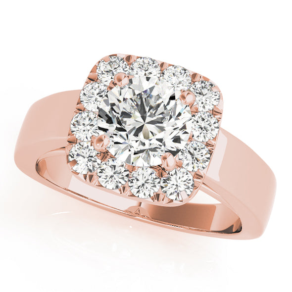Wide Cushion Cut Diamond Halo Gold Engagement Mounting