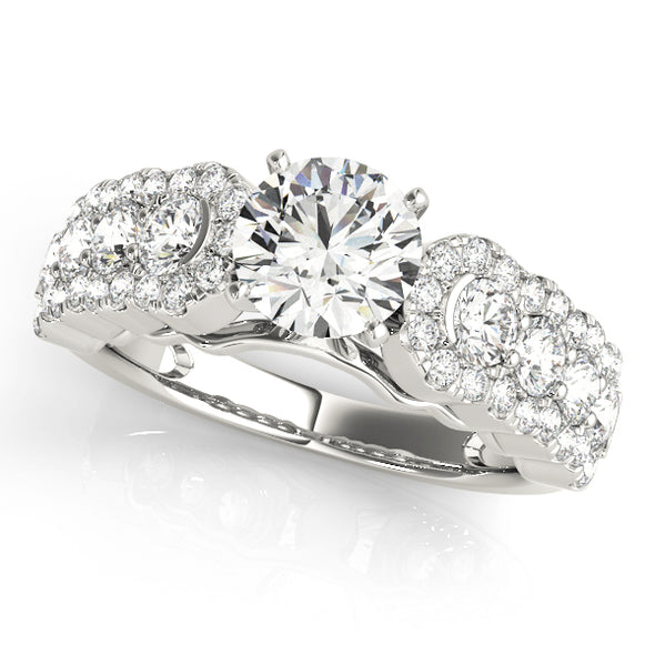Three Row Round Diamond Engagement Mounting