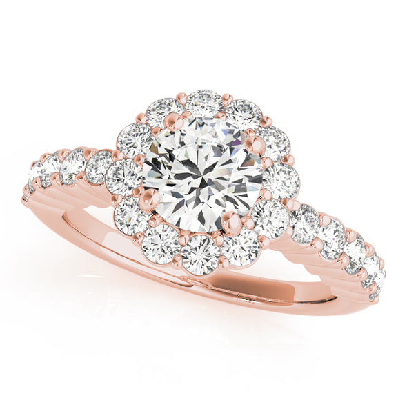 Flower Design Diamond Halo Engagement Mounting