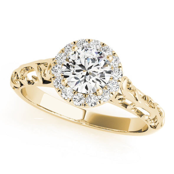 Diamond Halo and Engraved Shank Engagement Ring