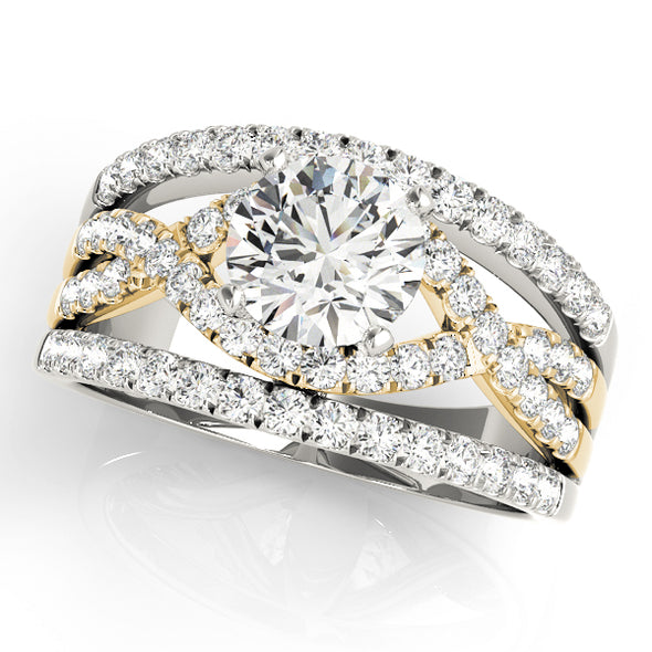 Diamond Wide Engagement Mounting with Interior Cross-Over Design