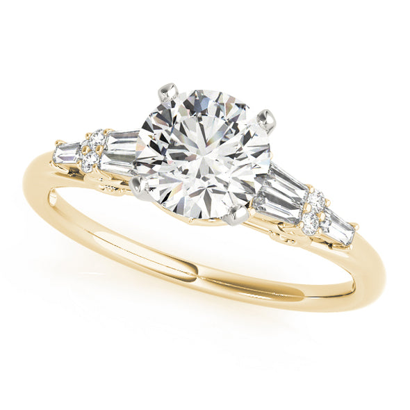 Tapered Baguette and Round Diamond Engagement Mounting