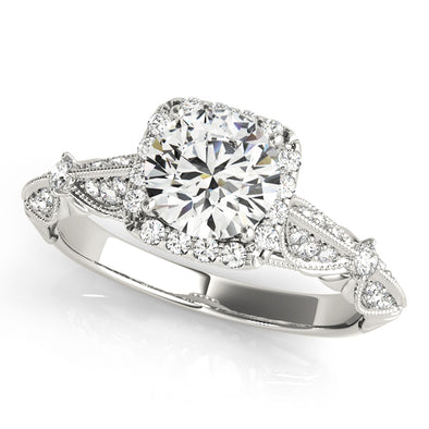 Vintage Style Cushion Cut Halo Engagement Mounting