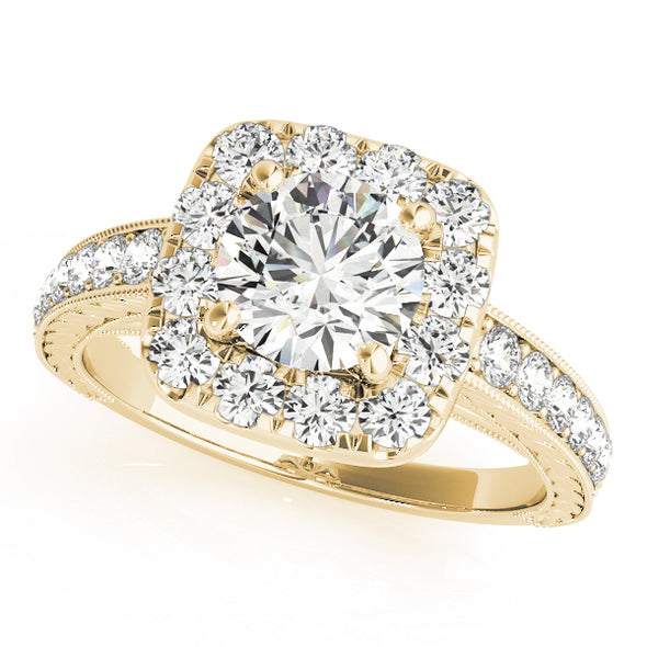 Cushion Cut Halo and Channel Set Diamond Engagement Mounting