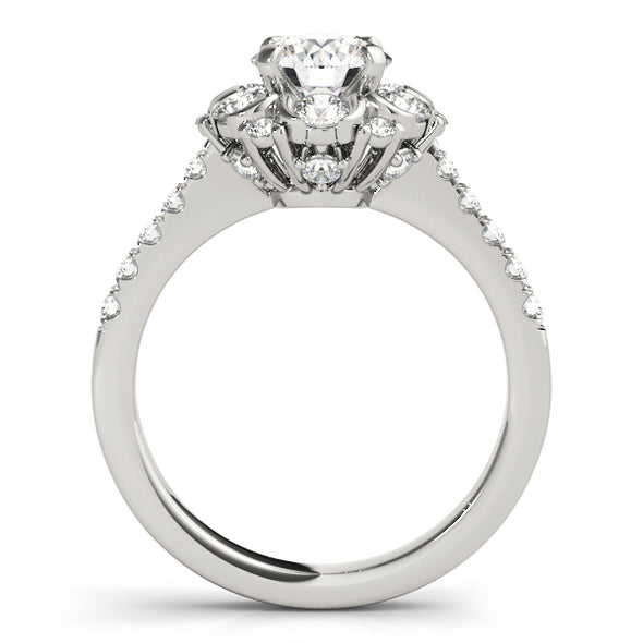 Round Diamond Halo and Diamond Shank Engagement Mounting