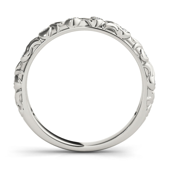 Inlaid Diamond Stackable Wedding Band with Engraved Detail