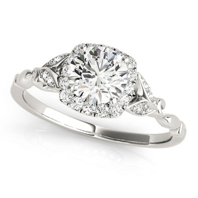 Cushion Cut Diamond Halo Engagement Mounting with Side Diamond Detail
