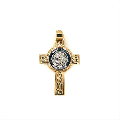 Engraved Detail St. Michael Cross - 14kt Two-Tone Gold
