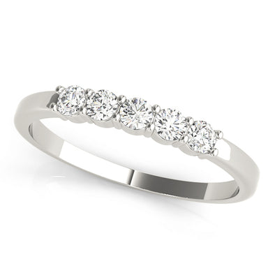 Five Diamond Prong Set Wedding Band