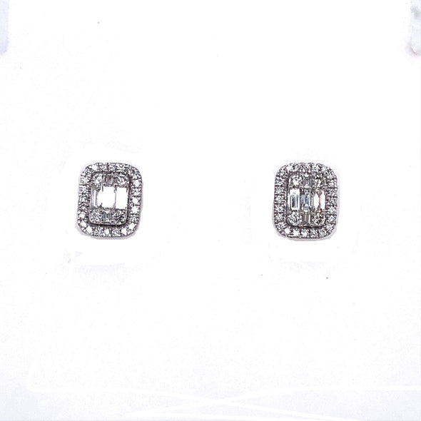 Baguette Cluster and Diamond Halo Earrings
