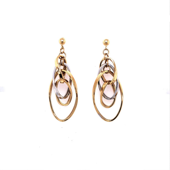 Four Oval Interlocking Hoop Earrings - 14kt Two-Tone Gold