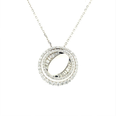 Round and Baguette Diamond Circle Pendant