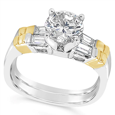 Platinum and Yellow Gold Round and Baguette Diamond Engagement Ring