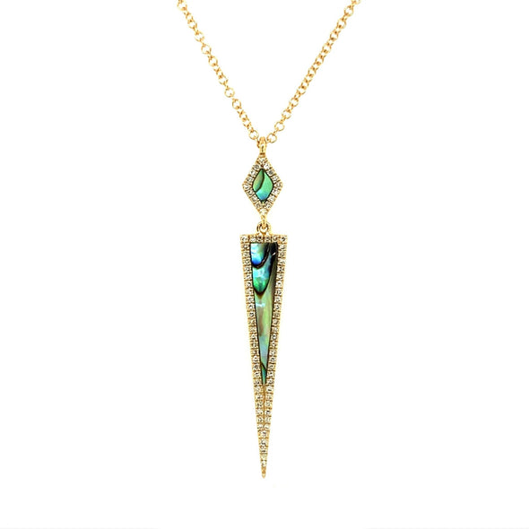 Abalone and Diamond Contemporary Style Pendant