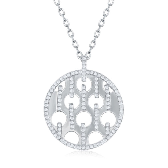 Cubic Zirconia and Open Circle Detail Disc Pendant - Sterling Silver