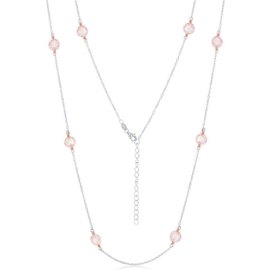 Cubic Zirconia By the Yard Necklace - Sterling Silver and Rose Gold Plated