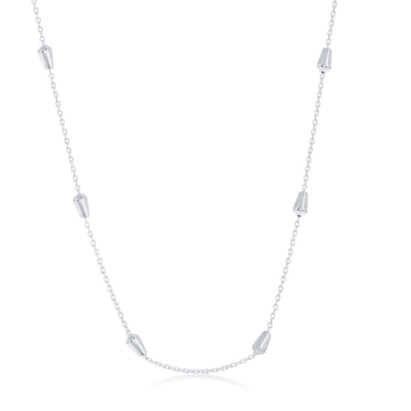 Bullet Bead Design Necklace - Sterling Silver and Rhodium Plate