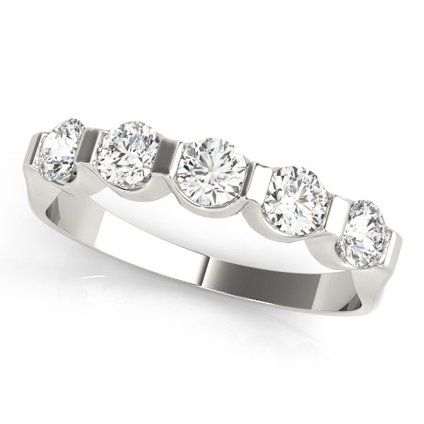 Five Diamond Half Bezel Bar Set Diamond Wedding Band