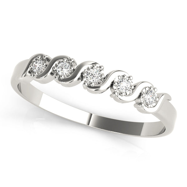 Half Bezel Set Swirl Design Diamond Wedding Band