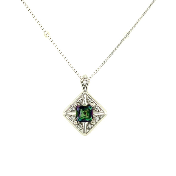 Mystic Topaz and Diamond Accented Pendant